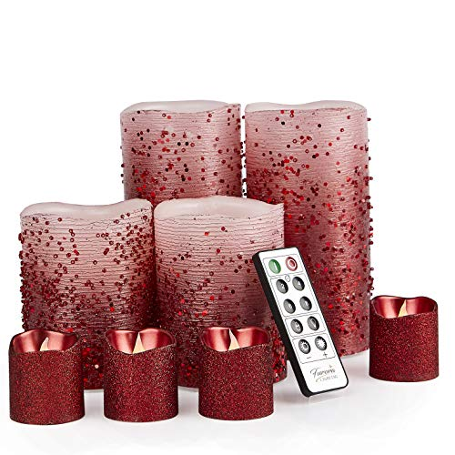 Furora LIGHTING LED Flameless Candles with Remote Control, Set of 8, Real Wax Battery Operated Pillars and Votives LED Candles with Flickering Flame and Timer Featured - Red Glittery