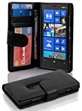 Cadorabo Book Case Works with Nokia Lumia 920 in Midnight Black - with Magnetic Closure and 3 Card Slots - Wallet Etui Cover Pouch PU Leather Flip