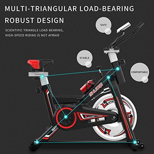512hoUHckuL - SHUOQI Bicicleta estáticas para Fitness, Bici de Spinning, Calidad Profesional, Rueda de inercia bidireccional,Transmisión por Cadena Fija,Asiento Ajustable, Pantalla LCD