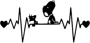UR Impressions MBlk Snoopy and Woodstock Heartbeat Decal Vinyl Sticker Graphics for Car Truck SUV Van Wall Window Laptop Matte Black 7.5 X 4 Inch URI294-MB