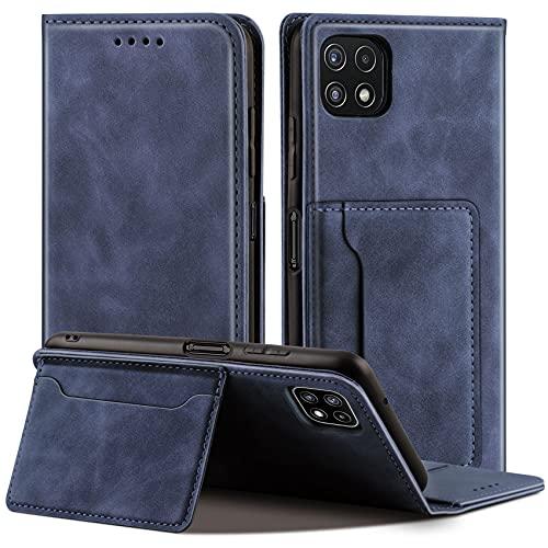 QHOHQ Fundas Cartucheras para Samsung Galaxy A22 5G (No Galaxy A22 4G), Soporte Inteligente Cuero de Primera Calidad Magnético Estilo de Negocios Case para Samsung A22 5G -Azul