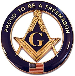 Proud To Be A Freemason Round Blue Masonic Auto Emblem - 3 Diameter