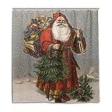 CPYang Duschvorhänge Weihnachtsmann Muster Wasserdicht Schimmelresistent Badvorhang Badezimmer Home Decor 168 x 182 cm mit 12 Haken
