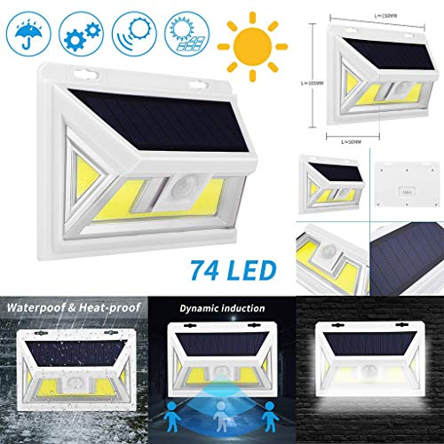 Solike Lampe Solaire Extérieur [Version à économie D'énergie] 74 COB LED de Mouvement éclairage Solaire Extérieur étanche Sans Fil Spot Solaire Lumière Puissant Sécurité pour Jardin (Noir, 1PC)