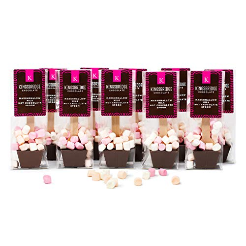 Kingsbridge Chocolate - Marshmallow Hot Chocolate Spoons - 5 Pack | A Stir Stick with Delicious Melting Belgian Chocolate and Sweet Mini Marshmallows for Drinking Chocolate
