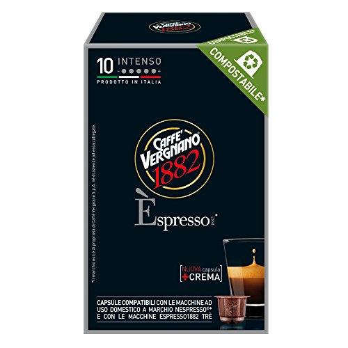Caffe' Vergnano 1882 Capsule Espresso Intenso Compatibili Nespresso, 10 Capsule