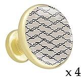 Hellgraue Linien und Wellen Schubladenknöpfe Gold Metall Schranktür Knöpfe Griffe mit Kristallglas für die Tür der Kommode Schrank Kleiderschrank Bad zieht (4 Stück) 3.2x3x1.7cm