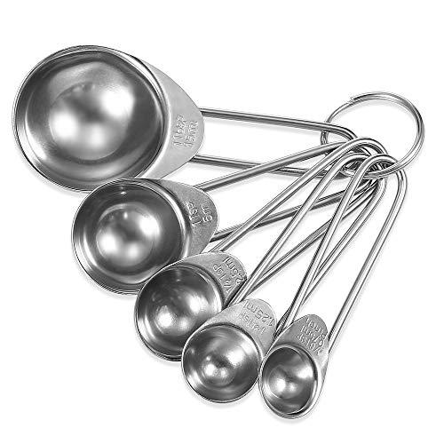 Ayanx Cucharas de Cocina 5PCS/4PCS Acero Inoxidable Escala Medida Herramientas para Hornear Conjunto de Condimentos para Semillas de Polvo Líquido