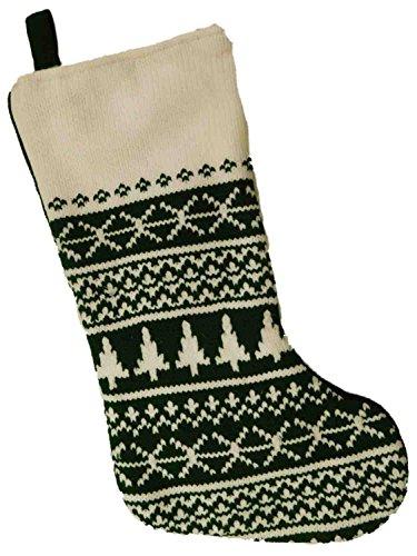 Green Knit Nordic Snowflake & Christmas Tree Print Holiday Stocking