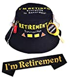 Retirement Party Survival Hat, Officially Retired Sash and Hat Black, Retirement Sash for Retired Event & Work Party, Novelty Gift for Men, Retirement Party Supplies Gifts and Decorations, Perfect for