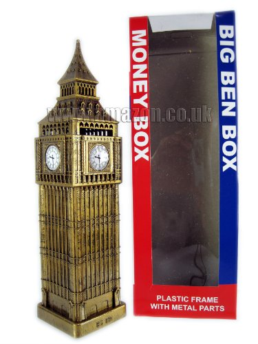 London Souvenir Big Ben Money Box Large Made of Metal and Plastic
