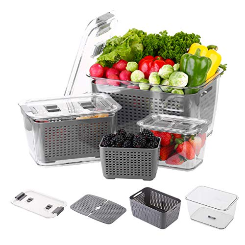 Evionsits Produce saver storage containers - Fresh Vegetable Fruit Storage Containers - Fridge Food Storage Containers - Keep Vegetables Fresh Easy to Clean(3 Sizes)