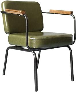 LHQ-HQ Silla de comedor Silla de comedor de metal for uso en interiores al aire libre elegante comedor Sillas Bistro Cafe lado metálico con asiento for sillas de cocina (color: verde retro, Tamaño: 62
