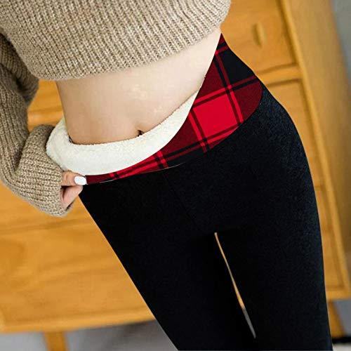 Alueeu Leggings Largas de Invierno para Mujer Térmicos Pants Thick Warm Fleece Lined Elásticos Forrado de Terciopelo Pantalón Casuales Leggins Cálid Pantalones de Yoga Felpa Forro Polar Grueso