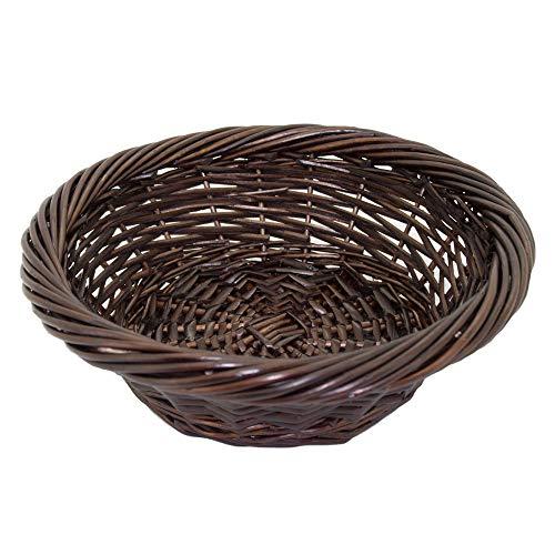 Kingwillow, Wicker Basket Small Fruit Basket Bread Tray Storage Basket, Fruit bowl, Round Stackable Basket, Light weight(1Piece, Dark brown C)