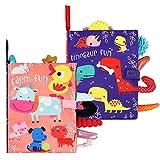LinStyle Stoffbuch für Babys, Stoffbücher Fühlbuch Baby Spielzeug ab 0 Monate, Tuch Badebuch mit Tier Dinosaurier Tails, Baby Lernspielzeug Geschenk für 0-3 Jahre 2PCS