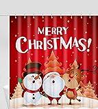 MAKLYER Duschvorhang mit Weihnachtsmann-Motiv, Weihnachtsbäume, Ornamente, Badezimmerdekoration
