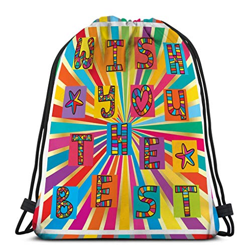 Men Women Gym Drawstring Backpacks Shoulder Bags Sport Sack Backpack for Home Travel Exercise wish you best frame drawing calligraphy abstract colorful bright template