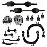 Detroit Axle - 14PC Front CV Axle Shaft Assembly, Wheel Hub Bearing, Upper Control Arm, Ball Joint, Sway Bar & 16mm Outer Tie Rod Suspension Kit for 4x4 Trailblazer Envoy Rainer