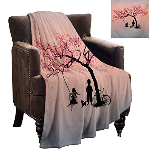 LanQiao Tree of Life Chunky Knit Blanket Children Playing on a Tire Swing Under Cherry Tree with Dog Blossom Spring Art Super Plush Blanket 60'x50' Pink Black