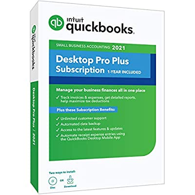 Intuit QuickBooks Desktop Pro Plus 2021 Accounting Software for Small Business 1-Year Subscription with Shortcut Guide [PC Disc]