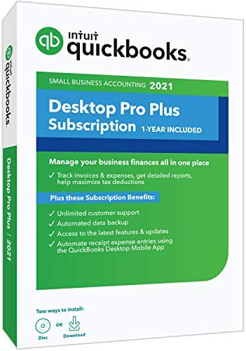 QuickBooks Desktop Pro Plus 2021 Accounting Software for Small Business 1 Year Subscription product image