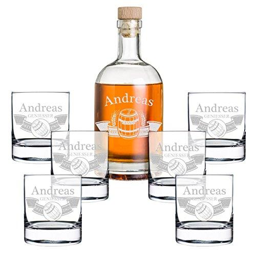 polar-effekt Set de regalo de 7 piezas con grabado – Botella de whisky y 6 vasos de whisky – Jarra de cristal contenido: 700 ml – Idea de regalo para hombres – Diseño de barril en la pancarta