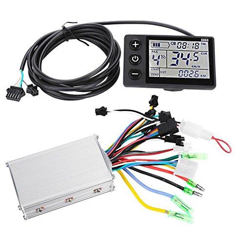 Keenso Ebike Controller, Kontroller elektrische Mountainbike Roller LCD flüssigkristall Instrument Controller C für elektrische Fahrräder, Roller (36V/48V 350W)