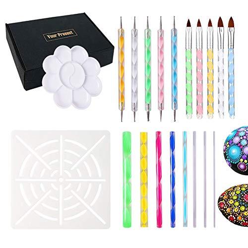 dessin et dessin de fournitures dart 32 Pcs Mandala Outils de dotting Pochoir rochers Mandala Pinceaux de peinture avec plateau de peinture pour peinture de coloriage