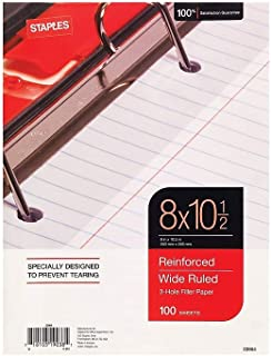 Staples 126465 Reinforced Filler Paper Wide Ruled 8-Inch x 10 1/2-Inch Each (23904W)
