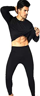 Fulision Men's Thermal Underwear Sets Long Johns Round Neck Polyester Fibre Warm Soft Breathable Elastic Slim Winter Man Long Sleeve Tops and Long Bottoms Trousers Set Ski Wear