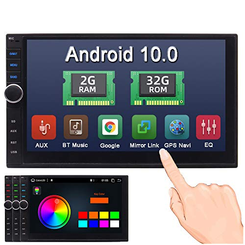 Android 10.0 Car Radio Double Din Car Stereo GPS Navigation 2G+32G Bluetooth Head Unit 7 inch Touchscreen 2 Din Car Audio Video Player Support Phone Mirror OBD2 3G/4G/WiFi USB SD AUX + Backup Camera