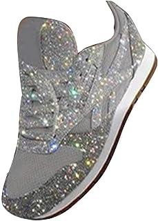 ORANDESIGNE Basket Femme Compensee Chaussures de Course Sport Fitness Sneakers Mode Paillettes Baskets Boîte de Nuit Chaus...
