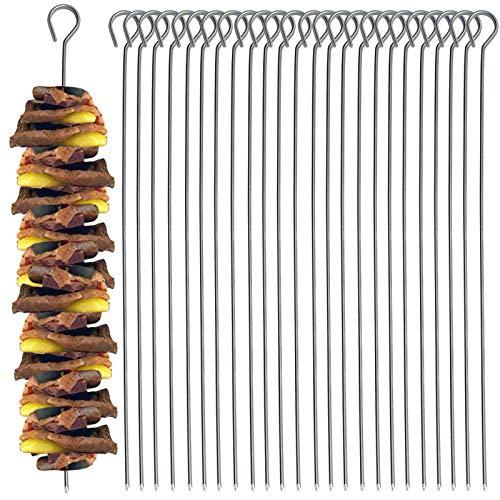 30 Stück Schaschlikspieße aus Edelstahl 28cm für BBQ, Grill und Pfanne Grillspieße Fleischspieße Gemüsespieße Schaschlik Fleisch Gemüse Spieße