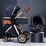TBQATNTS 3 in 1 Baby Stroller Carriage Foldable Luxury Pushchair Stroller Travel System with Car Seat Stroller Shock Absorption Springs High View Pram Baby Stroller with Mommy Bag and Rain Cover,Blue