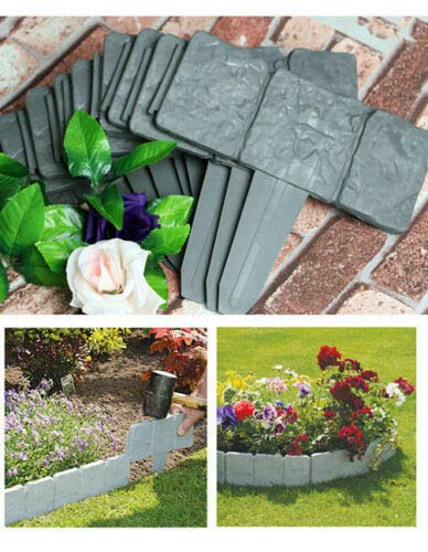 UK Garden Edging Plastic Hammer-In Lawn Palisade Lakeland Cobbled Stone Effect (40)