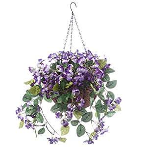 "OakRidge Fully Assembled Artificial Wisteria Hanging Basket, 10"" Diameter with 18"" Long Chain – Polyester/Plastic Flowers in Metal/Coco Fiber Liner Basket – Indoor/Outdoor Use"