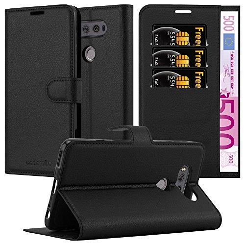 Cadorabo Hülle für LG V20 in Phantom SCHWARZ - Handyhülle mit Magnetverschluss, Standfunktion & Kartenfach - Hülle Cover Schutzhülle Etui Tasche Book Klapp Style