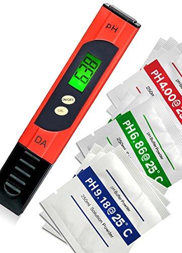Digital Aid pH Meter. Professional Quality Water Test Meter by Large Backlit LCD Screen. Range 0.00 to 14.0 pH. 3 Free Buffer Solution Powders. Plus get 6 More - See Below.
