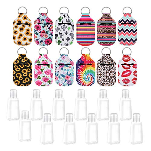 12 Pieces Keychain Bottles Empty Travel Size Bottle Holder 30 ml Flip Cap Reusable Bottles with 12 Pieces Keychain Carriers(12 different pattern)