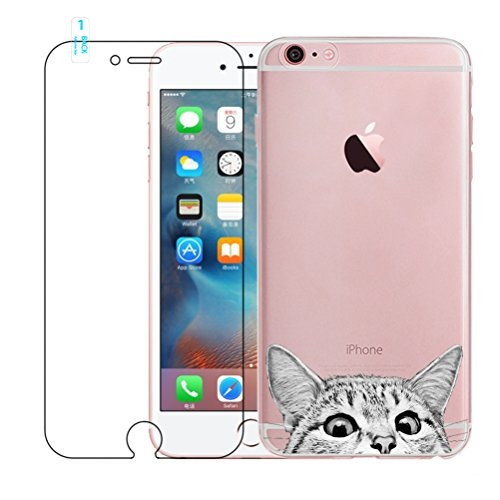 Custodia per iPhone 6, Custodia per iPhone 6S, Custodia in gel di silicone trasparente per TPU Custodia protettiva di graffio per iPhone 6 / 6S - Cute Cat