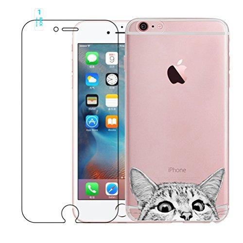 Funda iPhone 6 Plus, iPhone 6S Plus Caso de Gel de Silicona Transparente para TPU Custodia [con Protector de Pantalla de Vidrio Templado] para iPhone 6 Plus / iPhone 6S Plus - Cat