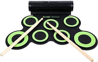 ポータブルプロフェッショ折りたたみ電子ドラム 電子ドラムセットロールアップ練習MIDIドラムキットサポート7シリコンパッド付きDTXゲームヘッドフォンジャック内蔵スピーカーサスティンペダルドラムスティック録音再生機能ギフト子供のための ドラムサウンドはあなたに自然で強力なサウンドを与えます。 標準的なドラム設定とワイドペダル (色 : 緑, サイズ : Free size)
