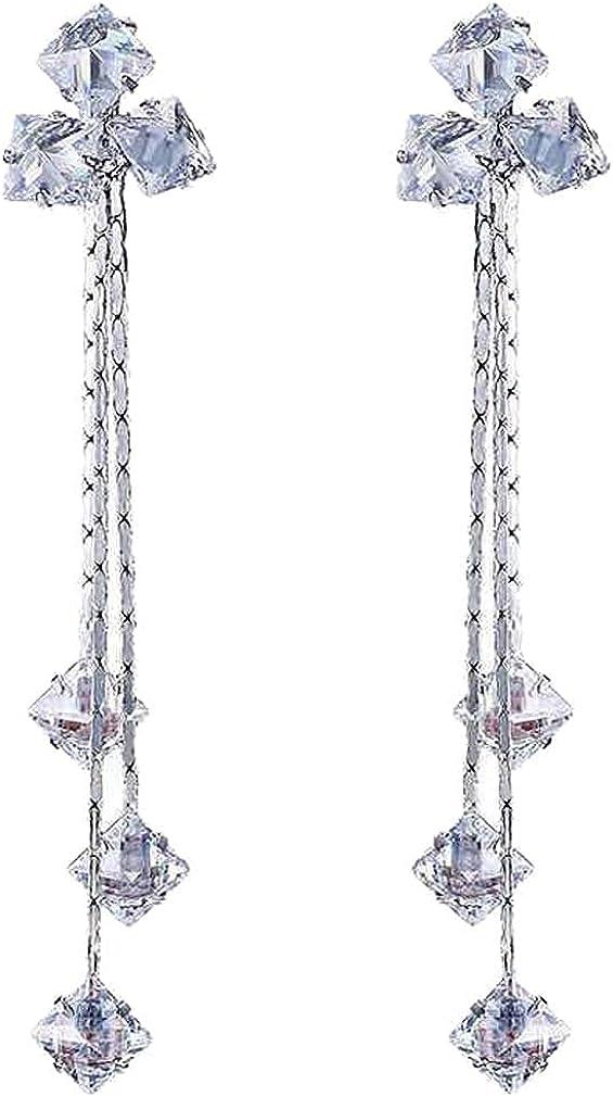 3 Leaf Clover Dangle Clip on Earrings Long Chain Multi Tassel Square Rhinestone Drop Non Pierced Ears Hoop for Women Girls Gifts Bridal Wedding Chandelier Dangling Jewelry