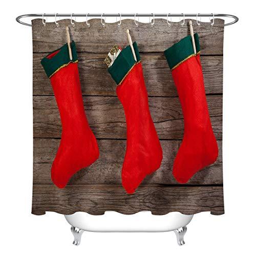 ijiashunf Tabla de Madera calcetín Rojo Navidad Cortina de baño antibacteriana HD para baño fácil de Limpiar