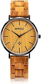 BEWELL Ultra Thin Wooden Watches Fashion Minimalist Wood Watches for Men/Women Analog Quartz Wrist Watches