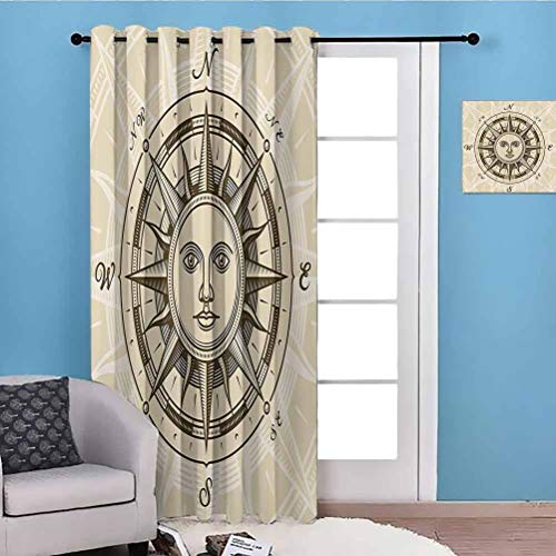 flymeeo 84' W x 96' L Compass Decor Collection Full Light Blocking Drapes Privacy Assured Vintage Compass Rose with Sun Shape Human Face Historic Decorating Illustration Beige Brown