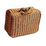 AIHOMЁ Retro Kleine Aufbewahrungsbox, 29 * 22 * 14 cm Simulation Rattan Woven Koffer Vintage Koffer Aufbewahrungsbox Picknick Aufbewahrungsbox Geschenk Aufbewahrungsbox