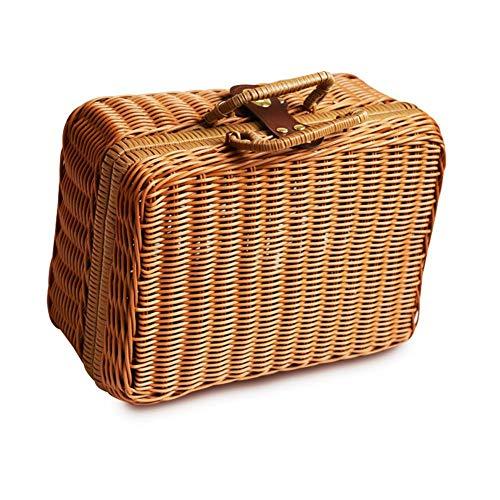 globalqi 29 22 14 cm Vintage Picknick Koffer Box Rattan Woven Aufbewahrungsbox - Simulation Rattan Woven Kiste Für Frauen