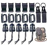 Clip táctico para mochila Molle, juego de correa de clip de sujeción para mochila, adecuado para senderismo, viajes y otras actividades al aire libre.